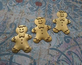 3 Vintage Raw  Brass Gingerbread Boy Stamping    ..   C - 1