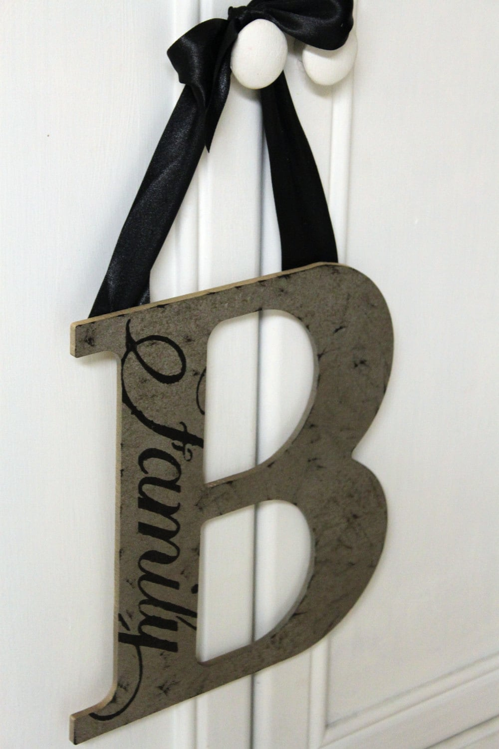 Custom wood letter wreath wall decor by love1906 on etsy - Wood letter wall decor ...