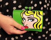 Hand Painted Green Vinyl Wallet Clutch - Inspired by Roy Lichtenstein - by pinkjellyfishy