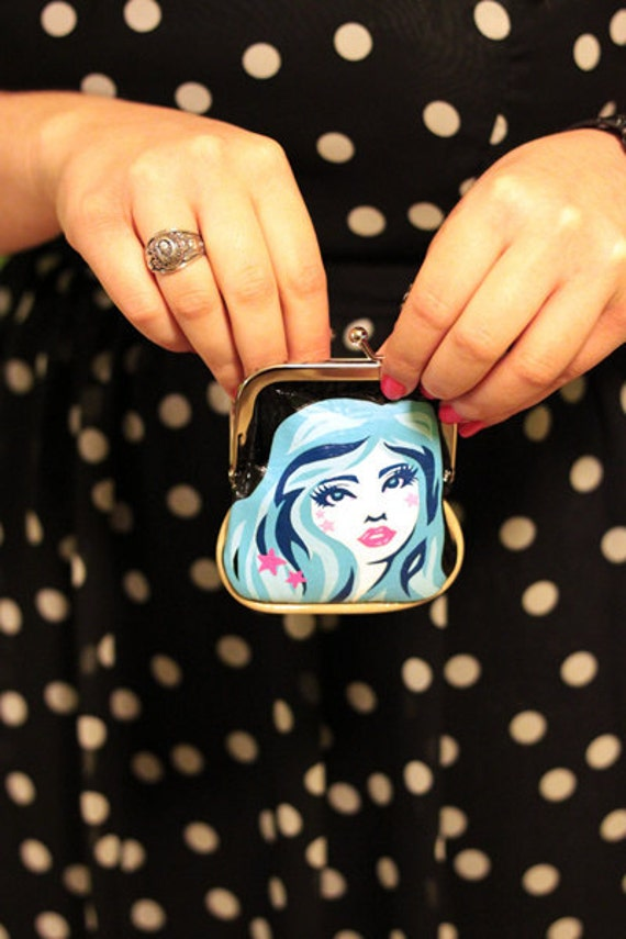Hand Painted Black Vinyl Coin Purse - I'm Blue - by pinkjellyfishy