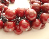 Ruby Red Wire Wrapped Beaded Bracelet