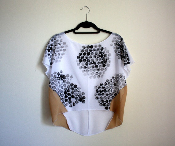 Handprinted Top, Sheer Blouse, Women's Shirt