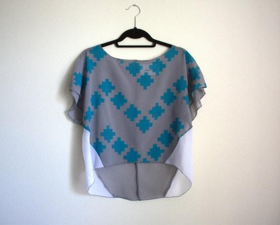 Handprinted Top, Sheer Blouse, Womens Shirt, Puzzle Print Tshirt