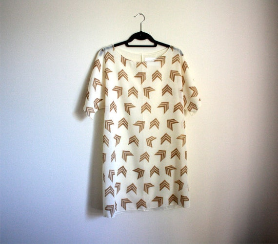 Handprinted Dress, Sheer Shift Dress, Womens Tunic, Chevron Print Dress