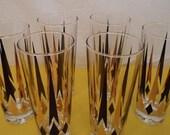 vintage retro mid century modern set of six black and gold pattern bar glasses