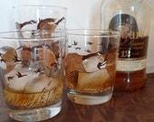 Vintage retro set of four rocks bar tumbler glass geese in flight