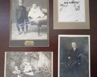 vintage set of four child photo's