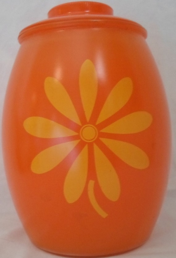 Vintage retro glass cookie jar orange with yellow fiower
