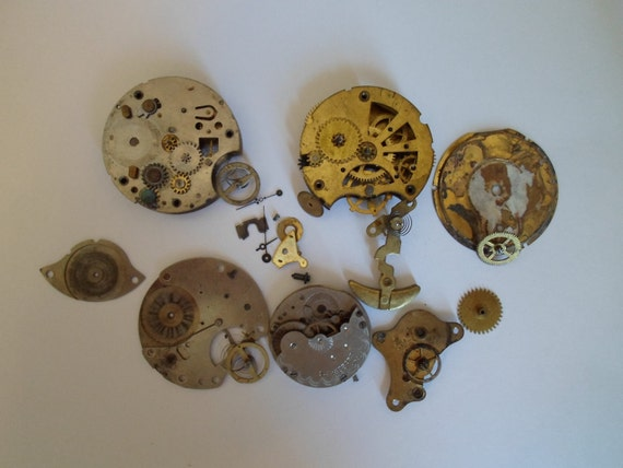 Vintage pocket watch parts 3.1oz.  For Art and Craft projects.  Or watch restoring.  Supplies   Scrap Metal  Steampunk