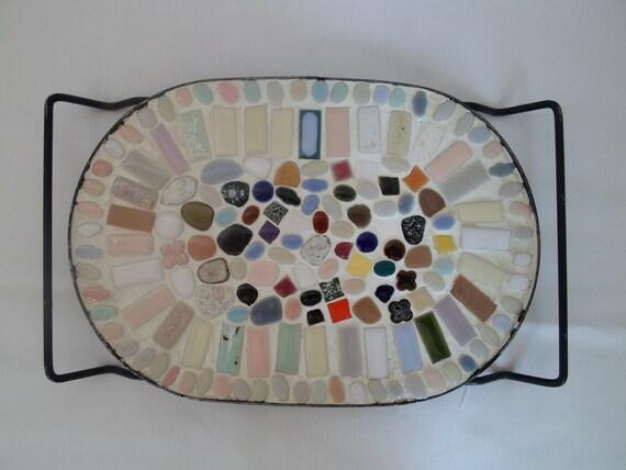 Vintage Mosaic Tile Trivet  Hot Plate  Cottage Chic  Shabby Chic Retro  Pot Holder  Hot Pad