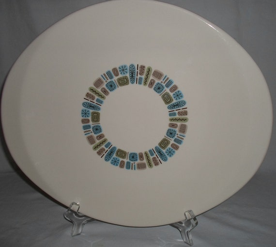 Mid Century Modern Temporama Large Serving Platter  by Canonsburge Pottery    Made in America  Atomic
