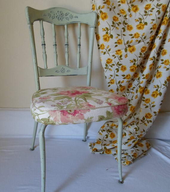 Vintage Shabby Chic  Cottage Chic  Side Chair  Metal and Wood  Green Chippy Painted Chair  Pink Peonies Cotton Fabric
