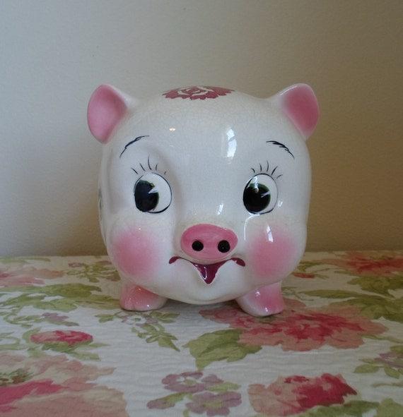 Vintage large ceramic Piggy Bank  Topline Imports Inc. Japan  Rose  Pig Bank  Shabby Chic  Cottage Chic