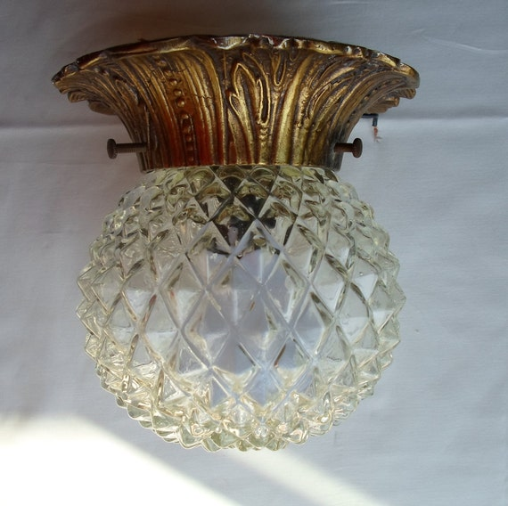 Vintage Antique Brass And Dimond Cut Glass Globe Flower Shape