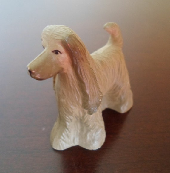 Vintage hard plastic toy Afghan Hound dog  Miniatures Figurine