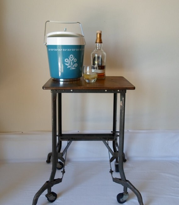 RESERVED Vintage Industrial Wood Top Typewriter Stand Rolling Cart Mid Century Modern Side Table Drink Cart End Table