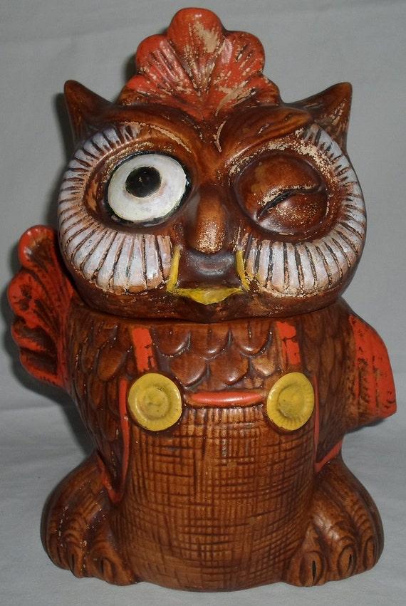 vintage retro  large winking owl ceramic cookie jar