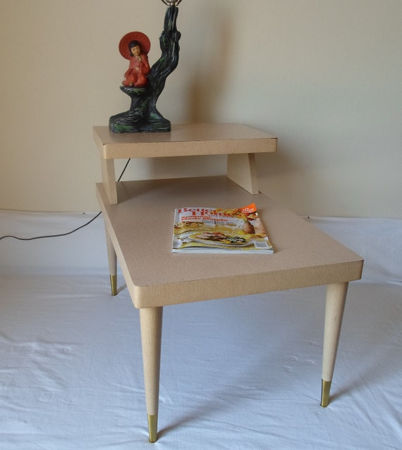 Vintage Mid Century Modern End Table Side Table  Laminent Table  Blonde Table