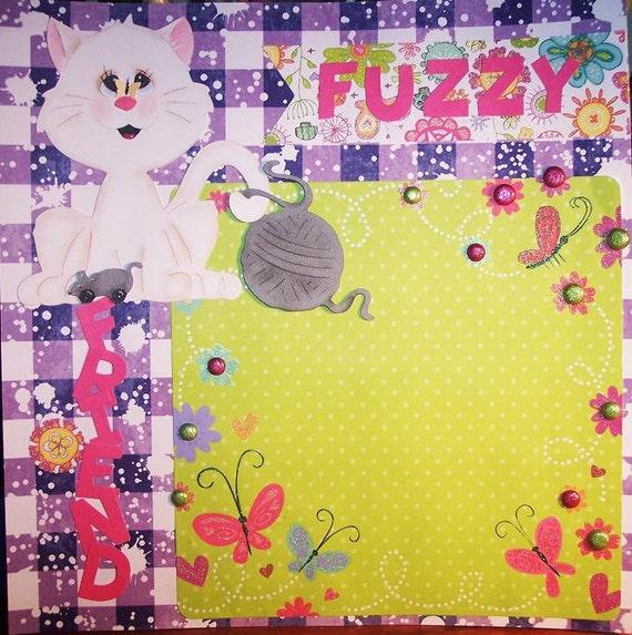 12 x 12 Premade Scrapbook Page Fuzzy Friend Kitty Cat