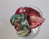 ON SALE NOW  Blue and Burgundy Silk Shibori Flower Headband