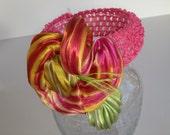 ON SALE NOW Mango Sherbert Silk Shibori Flower Headband