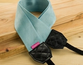 Camera Strap - Shocking Cyan for DSLR and Mirrorless with Black Tag