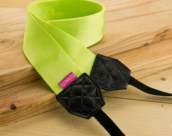 Camera Strap - Shocking Yellow for DSLR and Mirrorless with Black Tag (Yellow)