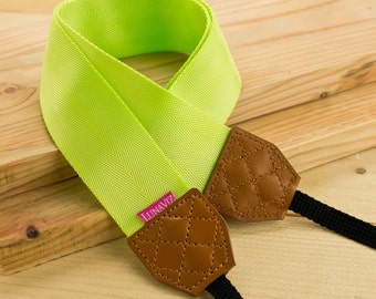 Camera Strap - Shocking Yellow for DSLR and Mirrorless with Brown Tag (Yellow)