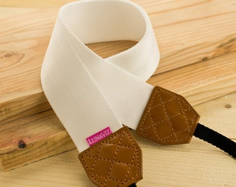 Camera Strap - Shocking White for DSLR and Mirrorless Cam with brown Tag
