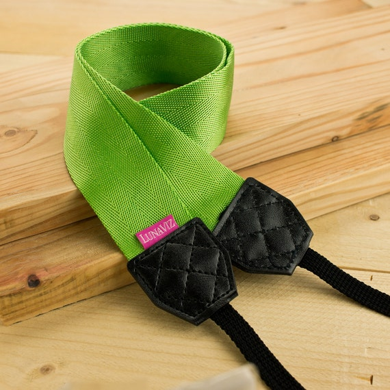 Camera Strap - Shocking Green for DSLR and Mirrorless Cam with Black Tag (Green)