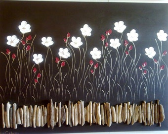 """Naomi Crowther original painting """"Poppies Dancing on Naturale Driftwood"""" Sumptuous white petals on deep chocolate."""