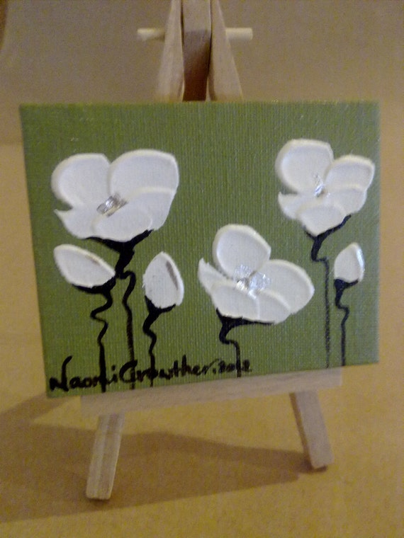 """Naomi Crowther original painting """"White Poppies on Galapagos"""" Moss Green and vibrant Silver Leaf."""
