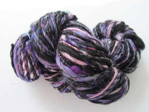 Handspun art yarn for knitting, crochet, doll hair: PIANO in the DARK 3.4 oz 129 yds, bulky, 10 wpi, single, thick and thin