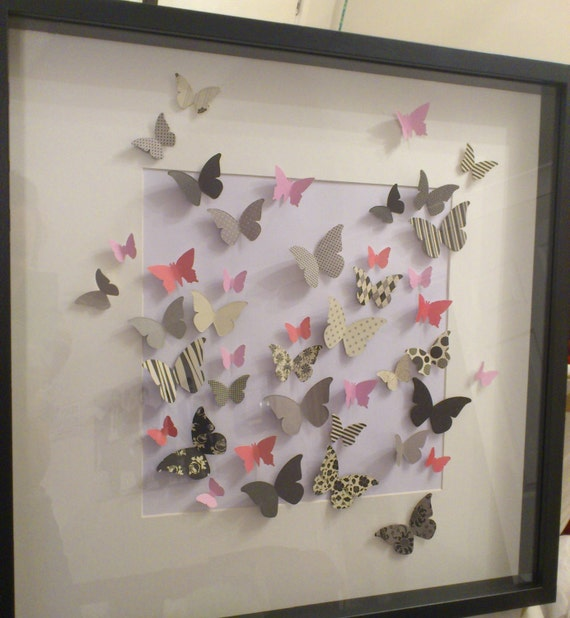 Items similar to butterfly 3d wall art framed paper for Paper art butterfly