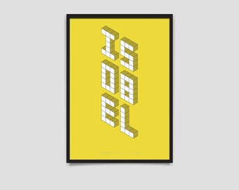 Baby Name Poster - Block Series - A3 Yellow
