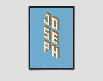 Baby Name Poster - Block Series - A3 Blue & Brown