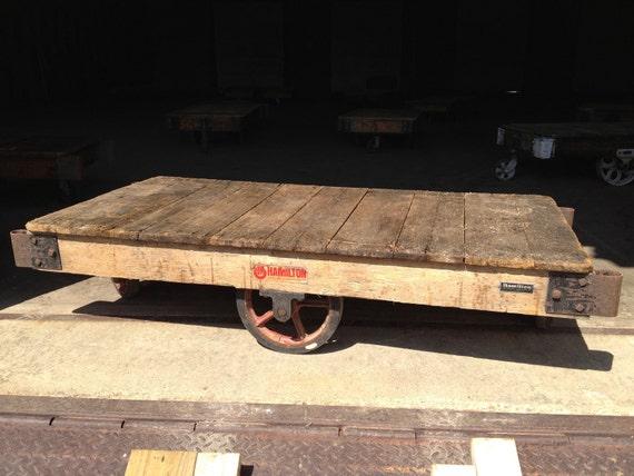 Unrestored Antique Factory Cart - Hamilton, Ohio - Coffee Table or Media Console