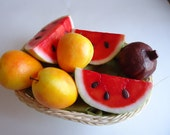 Fruit Soaps Basket, Watermelon, Apricot, Figs, Scented