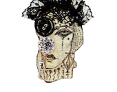 Statement necklace, steampunk, original drawing, vampire, textile jewelry, lolita, lace, gothic, circus, weird, burlesque, whimsical - Elyseeart