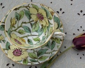 Tuscan Teacup and Saucer - Yellow and Pink Chintz Flowers