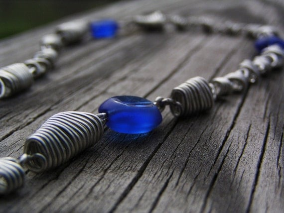 Doctor Who Wibbly Wobbly Timey Wimey Tardis Blue Beaded And Wire Wrapped Handmade Necklace