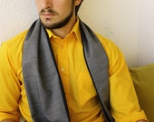 Gray Scarf - Mens Scarf - Long Black Scarf vs Gray Cotton - Mens gifts by Foxenberg Scarves