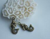 8pcs Mermaid Pendant Bronze Charm Pendants great for DIY Necklace LX007