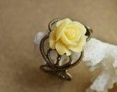 Resin flower Ring Antique brass Ring Adjustable Ring Resin  Yellow Rose Flower Ring