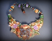 Mixed media, one of a kind wearable art necklace