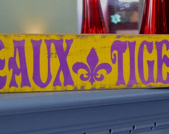 LSU custom wood sign, fleur de lis,  hand painted wood football sign, geaux tigers