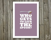 Kitchen Art - 5x7 print - Spoon and Chocolate Illustration - Cooking & Baking print - Dusk - Purple - PICK YOUR COLOR