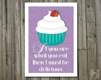 Kitchen Art - 8.3x11.7 - Cupcake Illustration - Damask Wallpaper - Delicious - Humorous Print - Strawberry - Whipped Cream - Purple