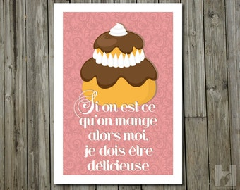 Kitchen Art - 8.3x11.7 - French Pastry Illustration - Damask Wallpaper - French Poster - Humorous Print - Religieuse - Chocolate - Pink