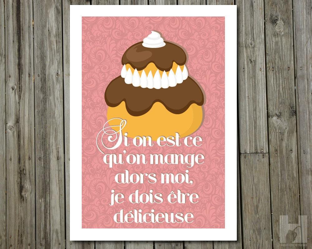 Religieuse affiche a4 poster p tisserie d co cuisine for Affiche decoration cuisine